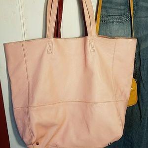 Saks, pink leather, oversized hobo shopper